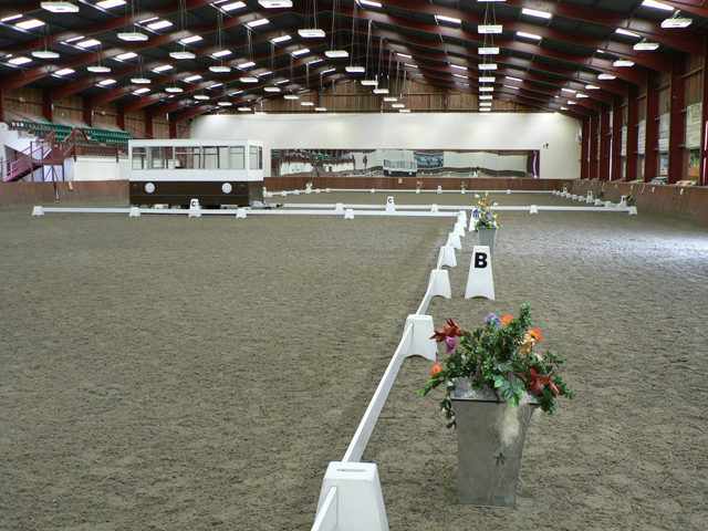 Indoor Equine Arena Set For Dressage